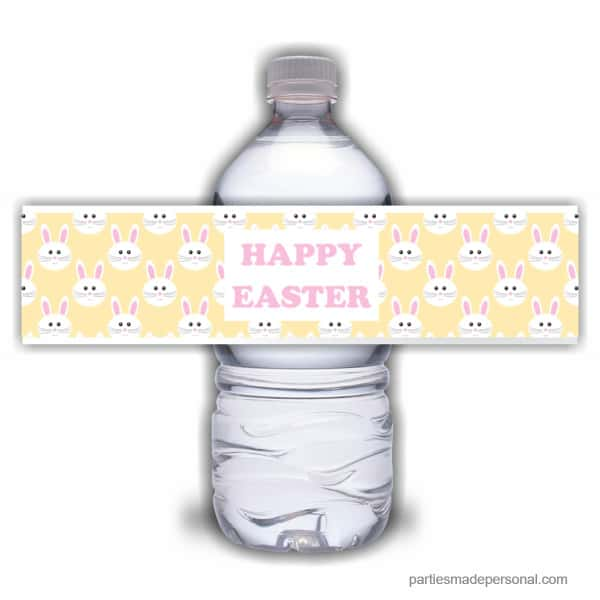 Yellow Easter Water Bottle Labels