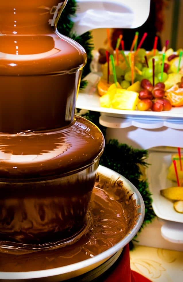 Chocolate fountain for a chocolate party theme