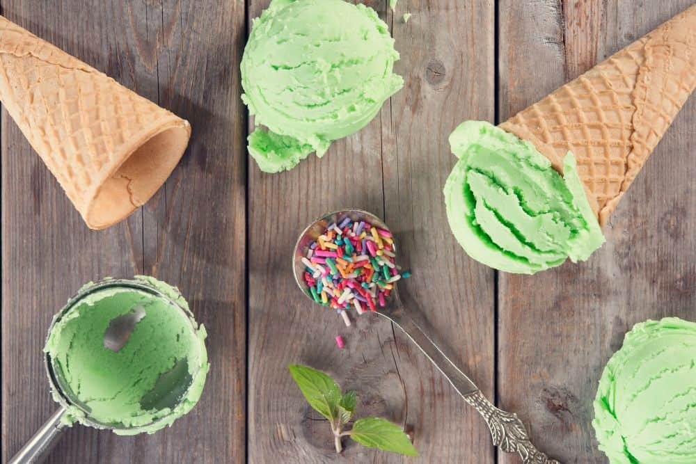 Green Theme party food - green ice cream with sprinkles