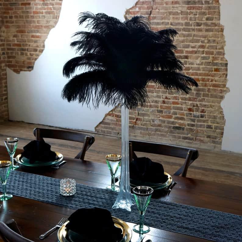 Black party decorations centerpiece ostrich feathers
