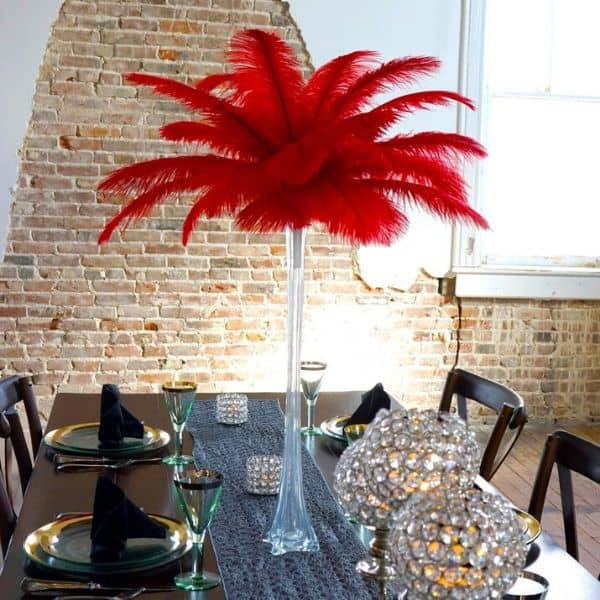 Red Party Decorations Feather Centerpiece