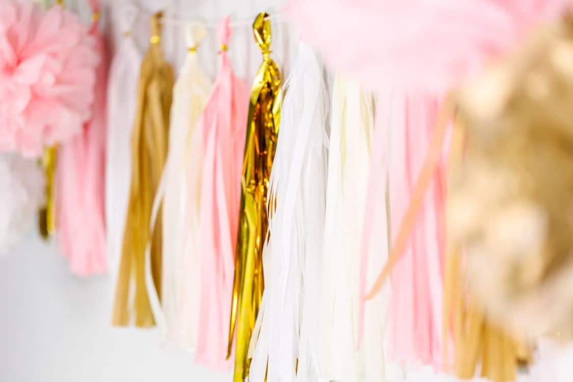 pink and gold bunting party decor