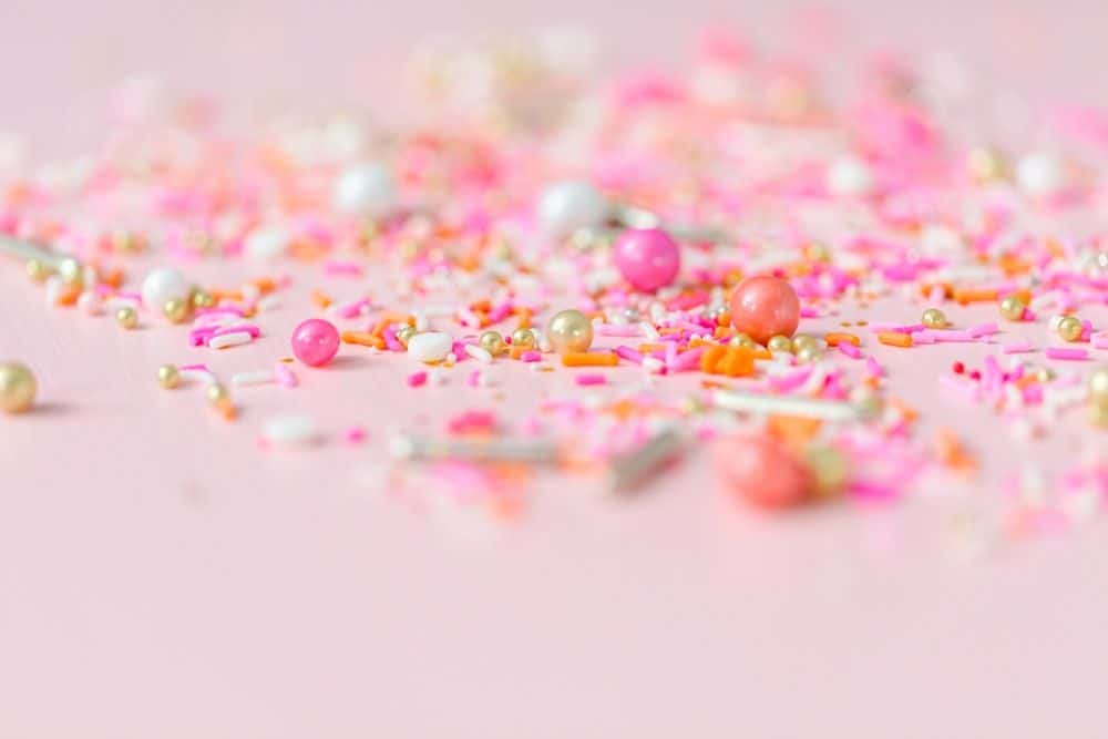 pink sprinkles for party food