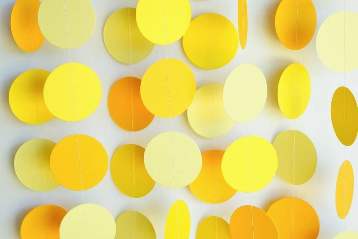 yellow party decorations paper garland