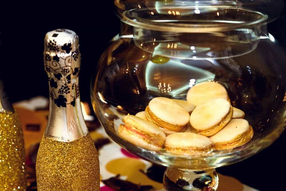 gold macarons party favors