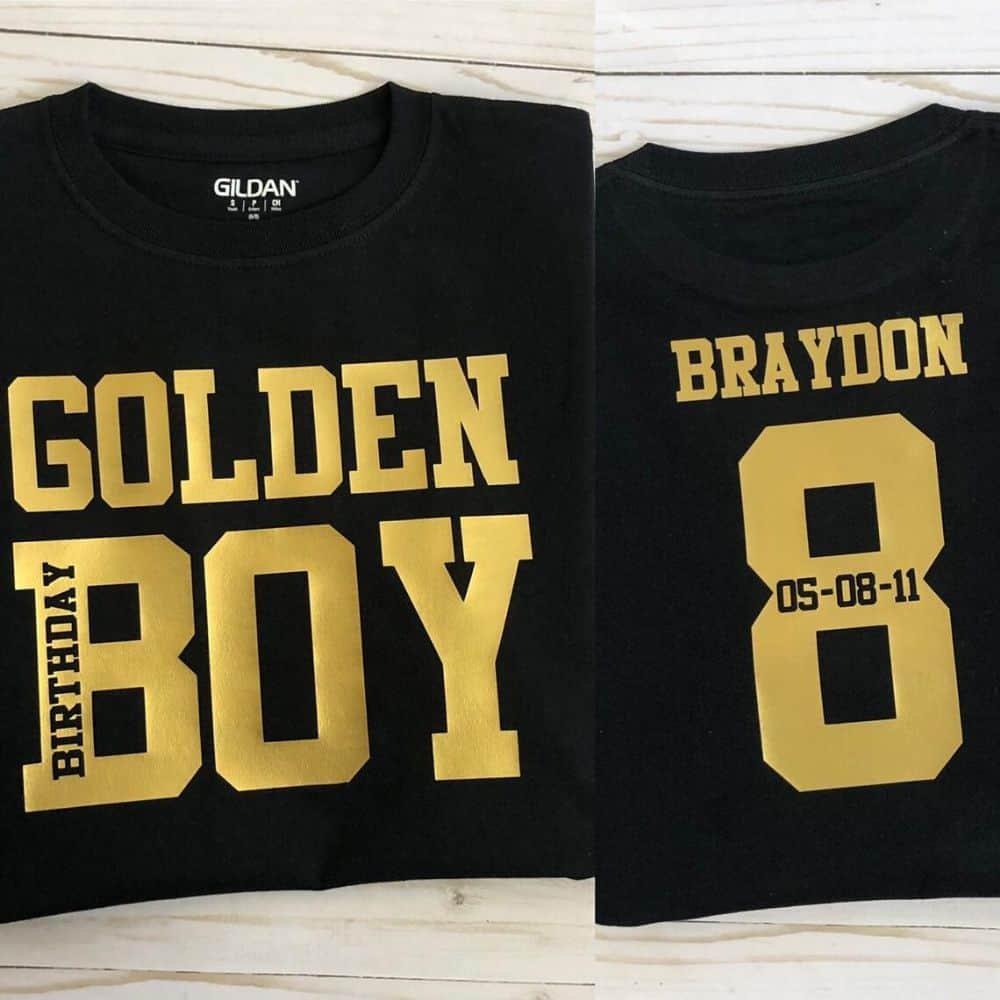 golden birthday shirt for boys and men