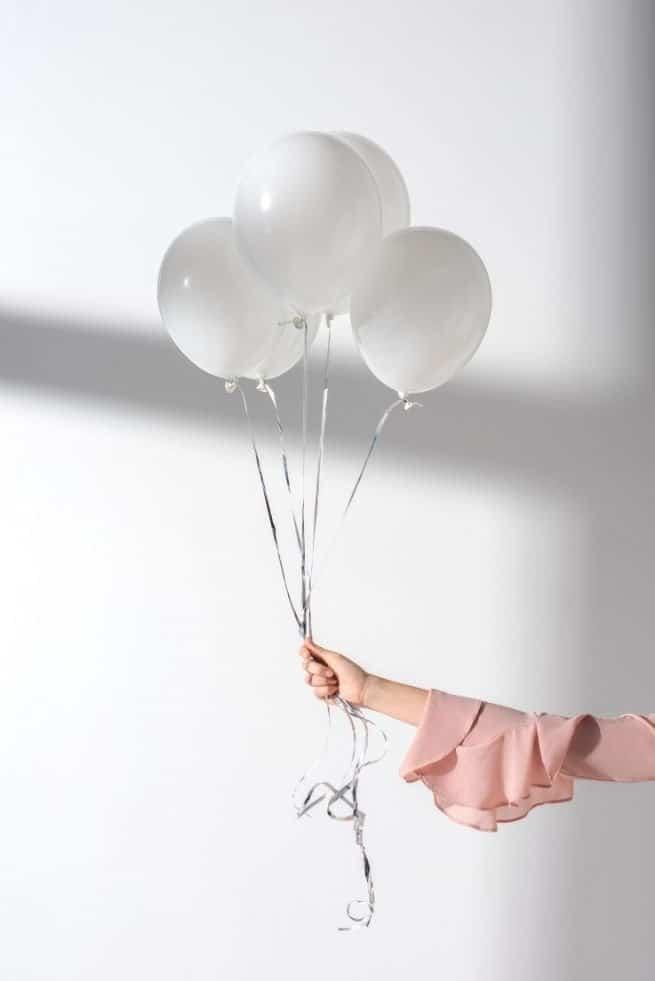 white party balloons