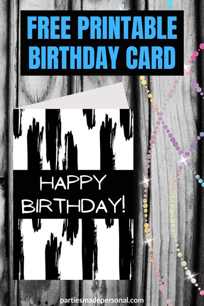 birthday card black and white