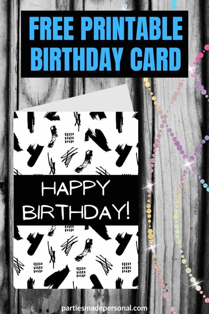 printable black and white birthday cards