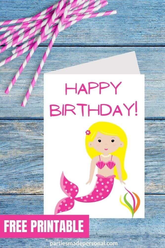 mermaid birthday cards