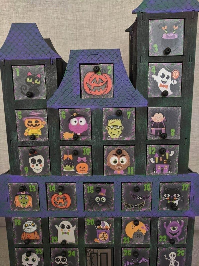 Wooden Halloween Advent Calendar