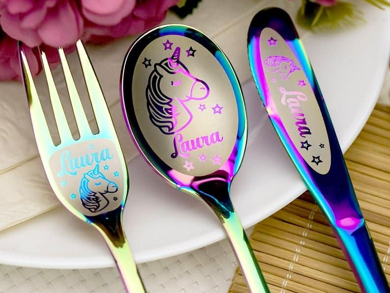 Personalized Unicorn Cutlery