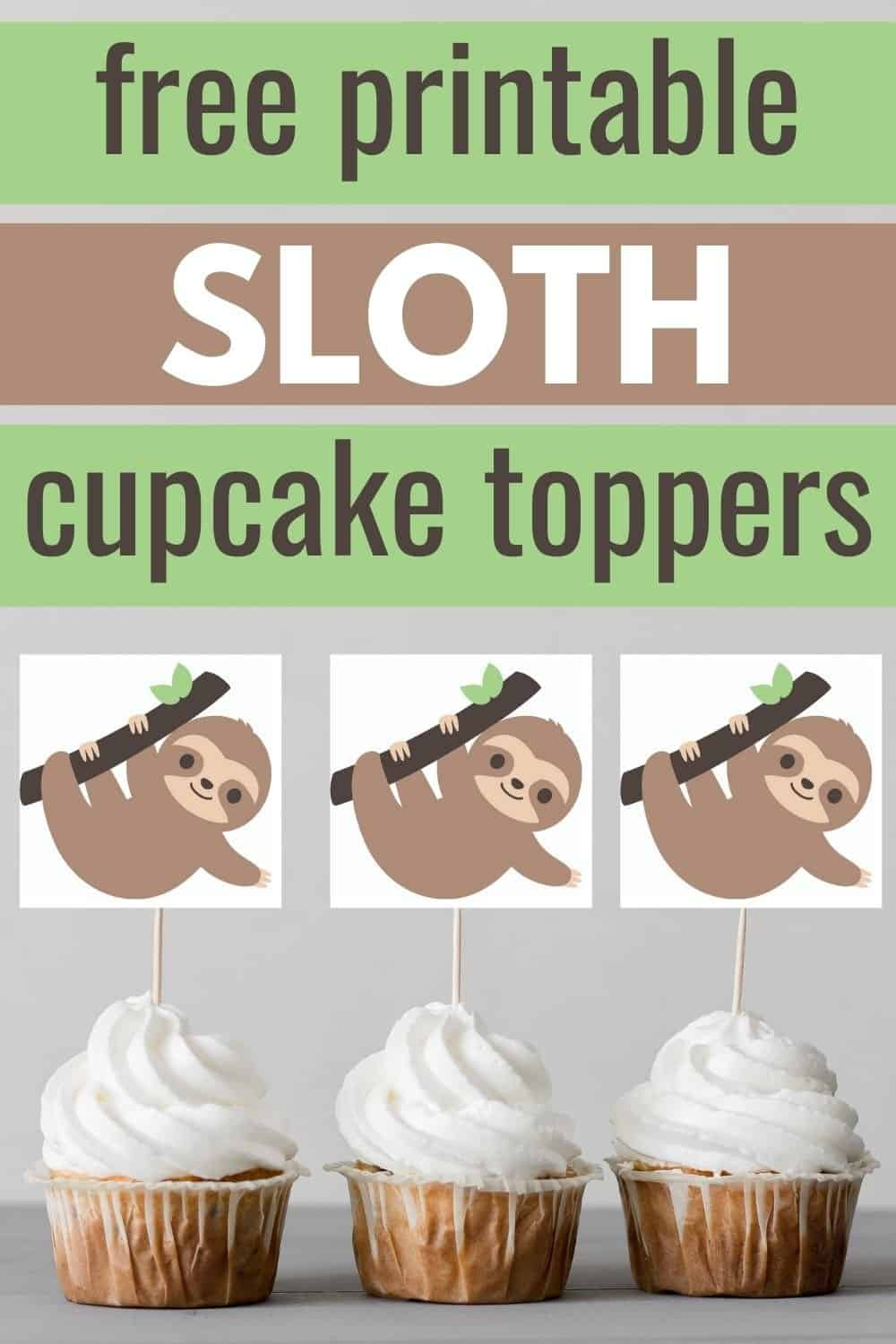 sloth cupcake toppers