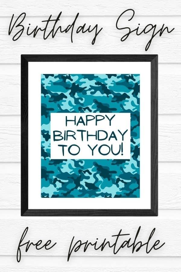 happy birthday sign free printable