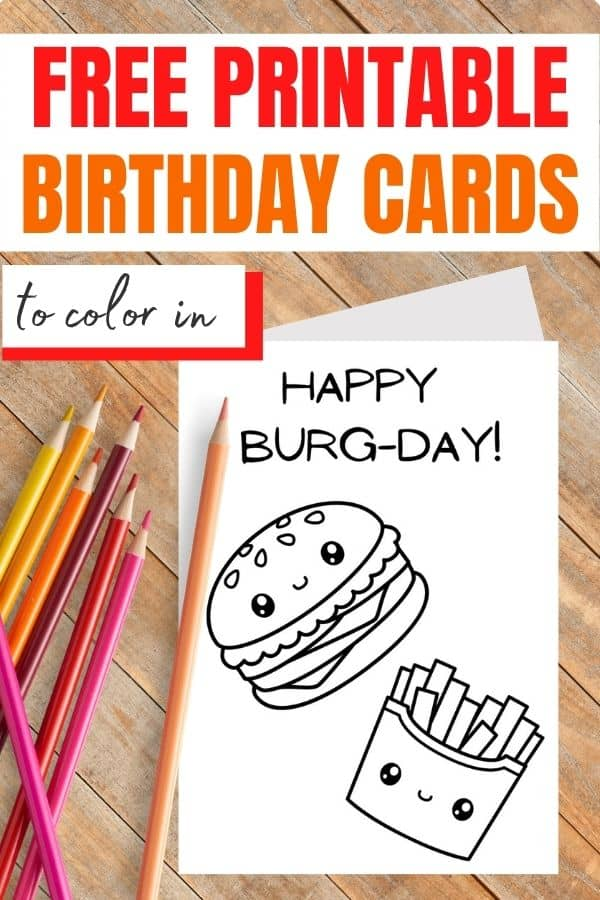 foldable birthday card coloring page