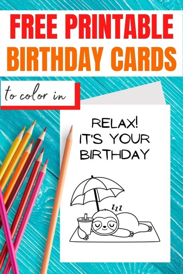 happy birthday cards to color