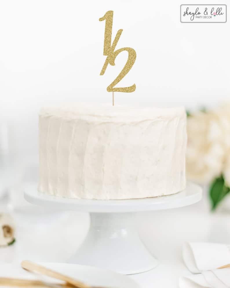 half birthday cake topper