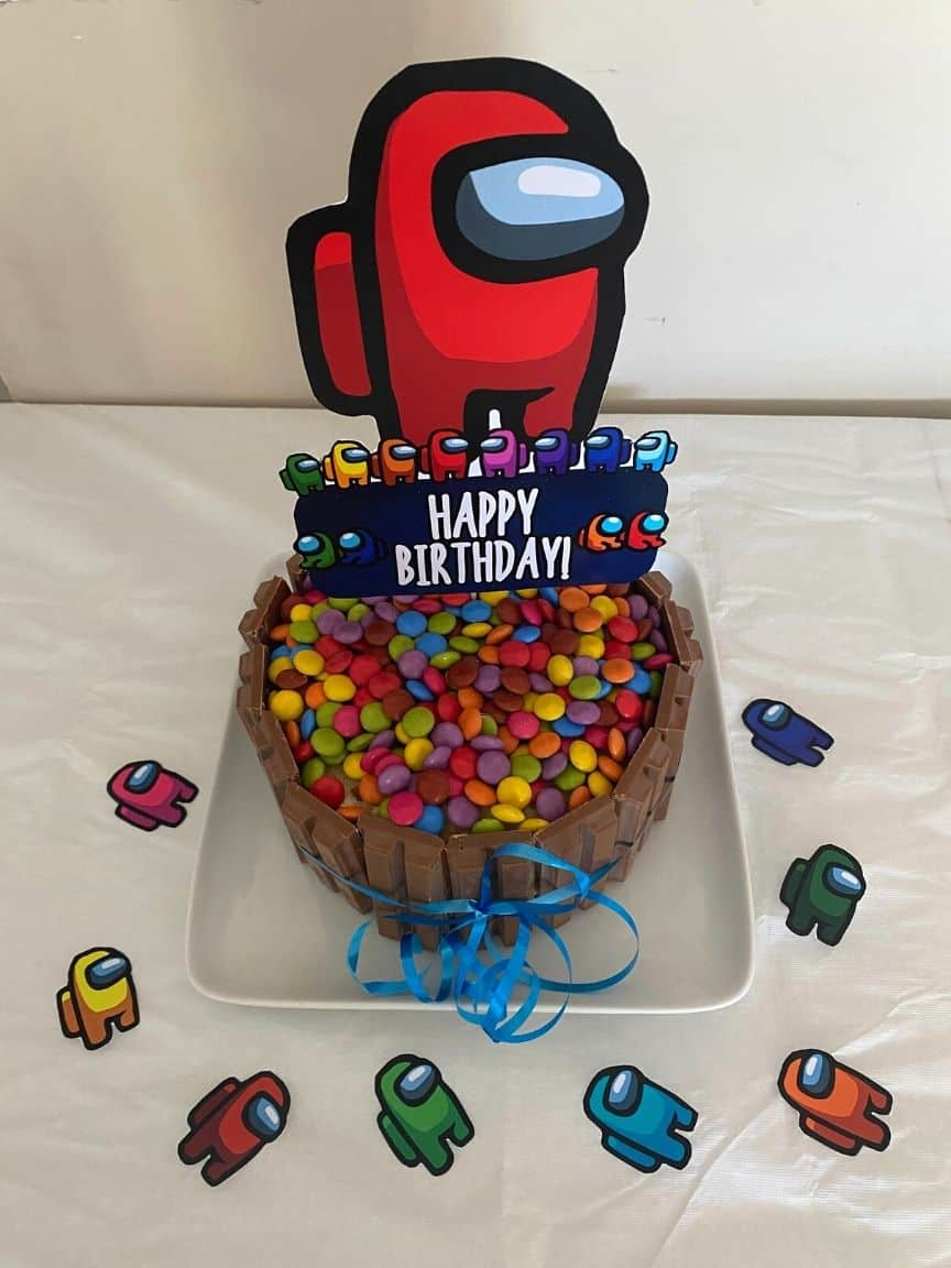 among us birthday party cake